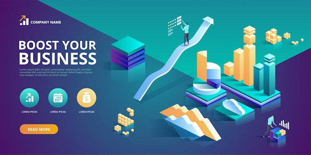 Boost your business modernc design concept of web page