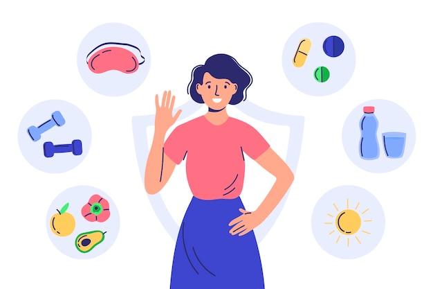 면역 체계를 강화하십시오. 플랫 만화 스타일의 캐릭터