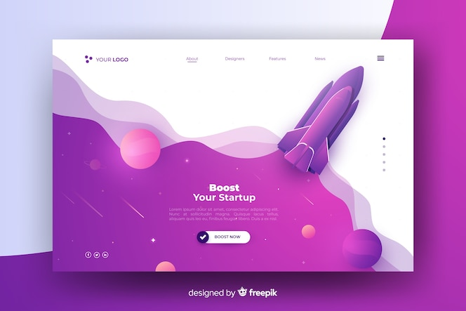 Boost your startup rocket landing page