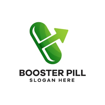 Дизайн логотипа градиента таблетки booster