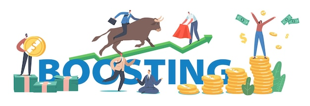 Boosting concept. people trading on bull stock market. brokers or traders characters analyse global fond and finance for buying and selling bonds poster, banner, flyer. cartoon vector illustration