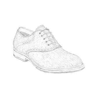Boot shoe illustration in hand drawn vector