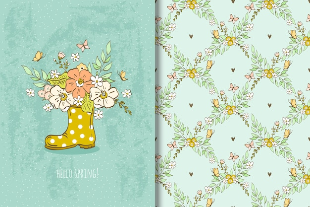 Boot with bouquet of flowers illustration and floral seamless pattern