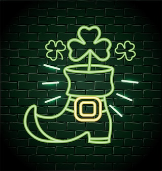 Boot with clovers neon label to st patrick event
