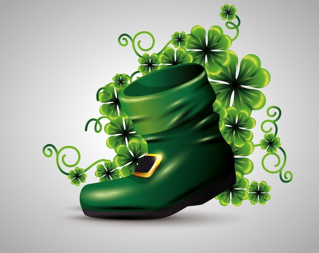 Boot with clovers plants for st patrick's day