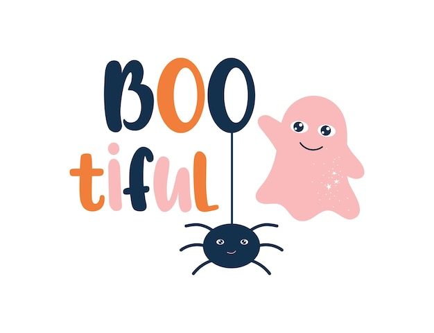 Bootiful halloween illustration with cute ghost