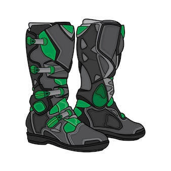 Boots motocross black and green