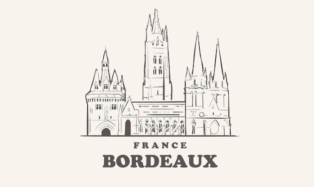 ボルドーのスカイライン美しいイラスト