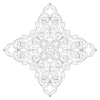 Граница и рамка в стиле барокко. черный и белый цвет. цветочная гравировка.