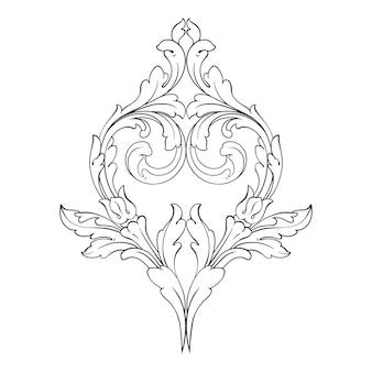 バロック様式のボーダーとフレーム。黒と白の色。花の彫刻装飾
