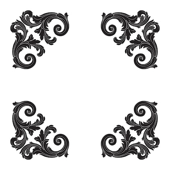 Граница и рамка в стиле барокко. черно-белый цвет. цветочная гравировка.