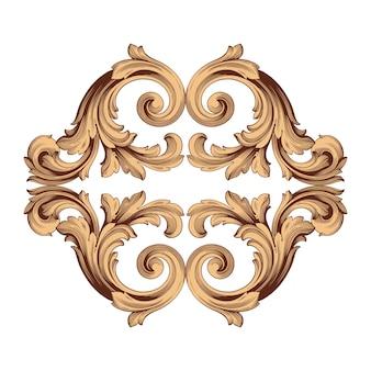 Граница и рамка в стиле барокко. золотистый цвет. цветочная гравировка.