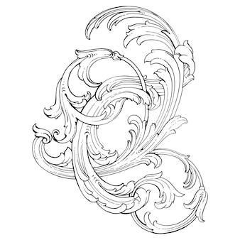 바로크 스타일의 테두리 및 프레임. 디자인을위한 장식 요소입니다. 흑백 색상. 꽃 조각 장식