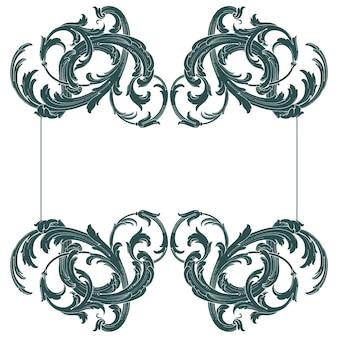 バロック様式のボーダーとフレーム。あなたのデザインの装飾要素。黒と白の色。花の彫刻装飾