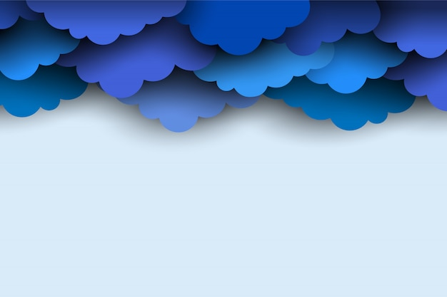 Border of blue paper cut clouds for design background