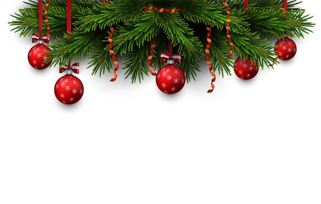 Border of christmas tree branches with red bow and red balls. season element for greeting card