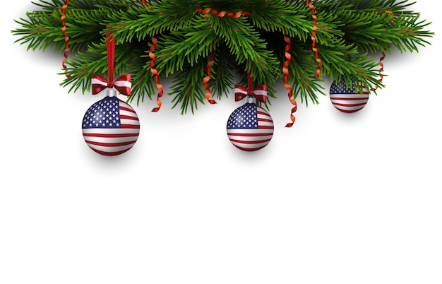 Border of christmas tree branches with red ribbon and balls with american flag. merry christmas and happy new year card