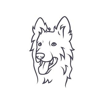 ボーダーコリー犬 - ベクトルロゴ/アイコンイラストマスコット