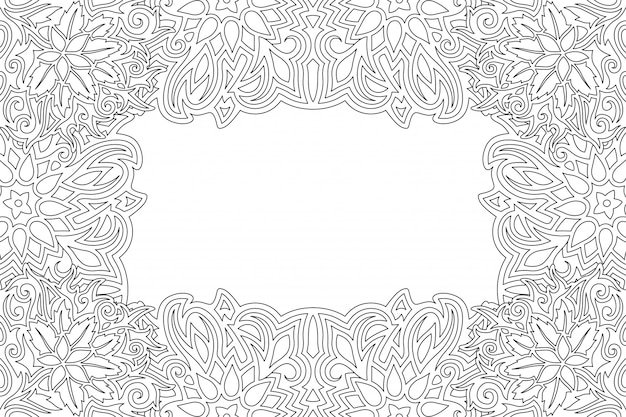 Border for coloring book with floral pattern