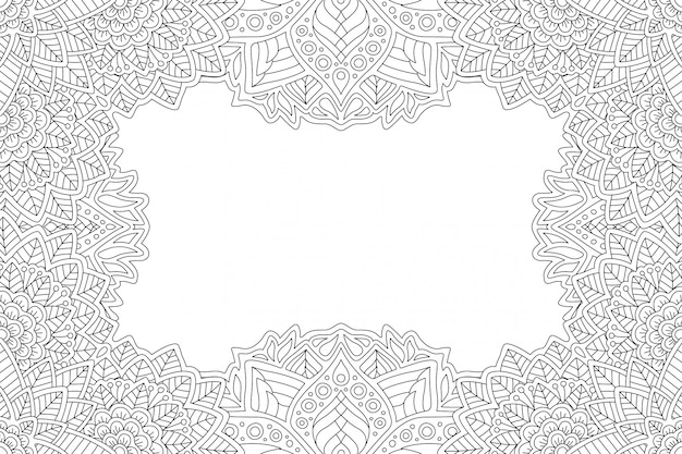 Border for coloring book with floral