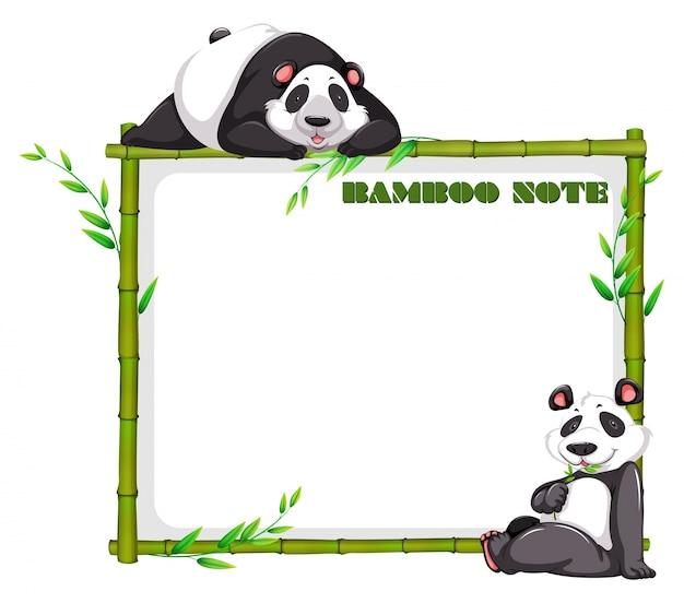 대나무와 팬더와 테두리 디자인