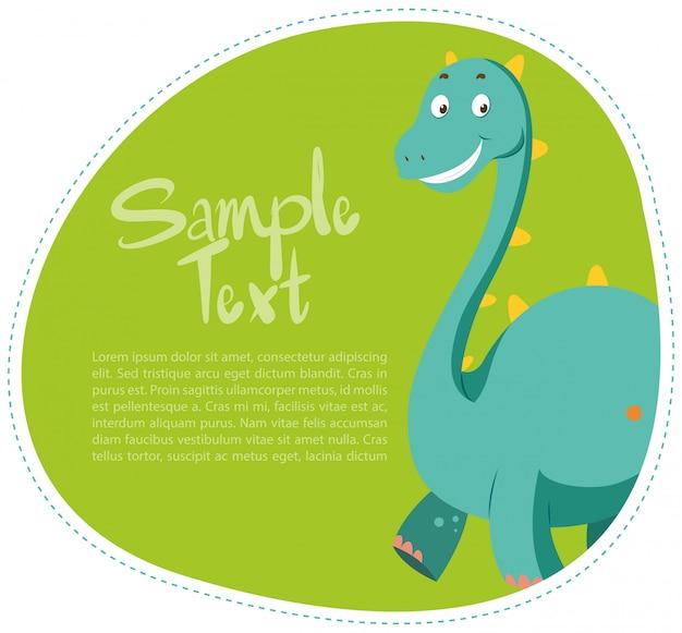 Border design with cute dinosaur