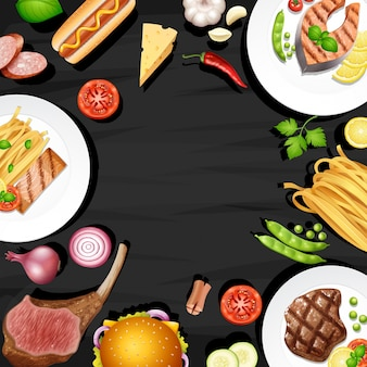 Border design with different kinds of food