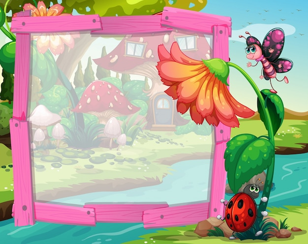 Border design with flower and insects