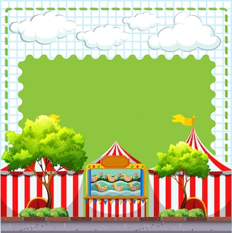 Border design with game at circus with copyspace