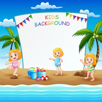 Border design with girls in swimsuit illustration