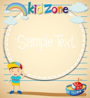 Border design with littile boy and toy