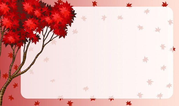 Border design with red maple leaves