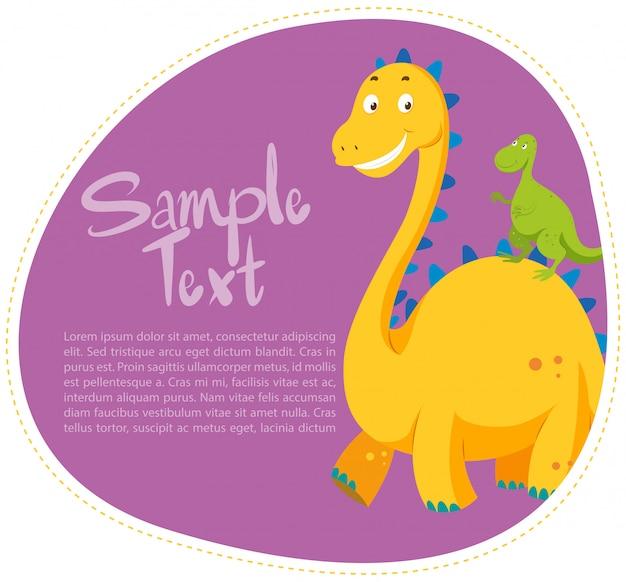 2つの恐竜とのボーダーデザイン