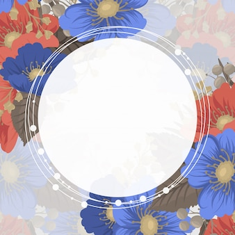 Border floral design - flowers circle frame
