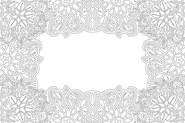 Бордюр для раскраски с цветочным узором Premium векторы