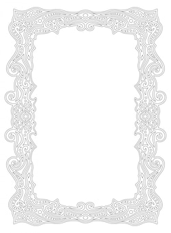 Border frame for coloring book page with linear ornament