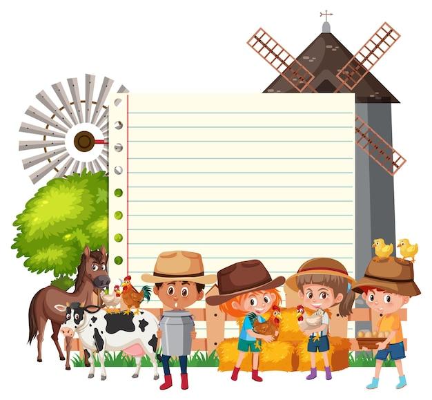 Шаблон рамки границы с фоном темы фермы