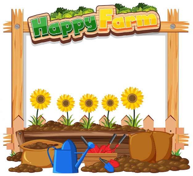 Border frame template with gardening theme background