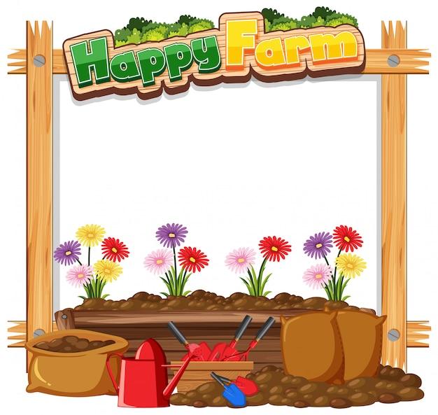 Шаблон рамки с садовой темой