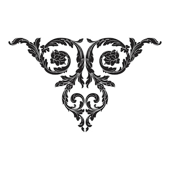 Border and frame with baroque style.   black and white color. floral engraving decoration