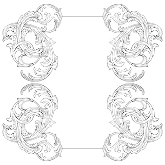 Border and frame with baroque style. ornament elements for your design. black and white color. floral engraving decoration