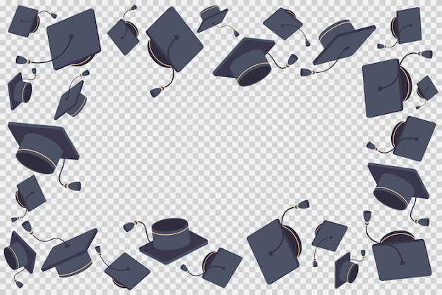 Border or frame with flying graduate cap   cartoon illustration isolated on a transparent background.