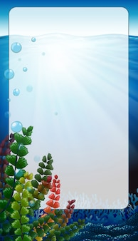 Border frame with scene underwater