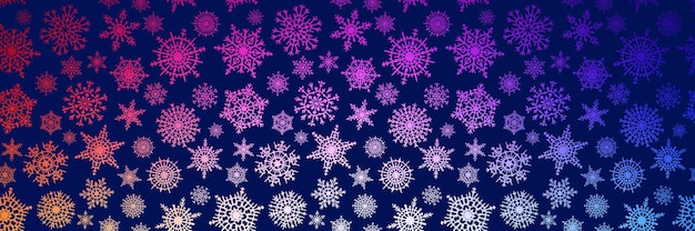 Border from snowflakes, banner, winter vector background, christmas theme