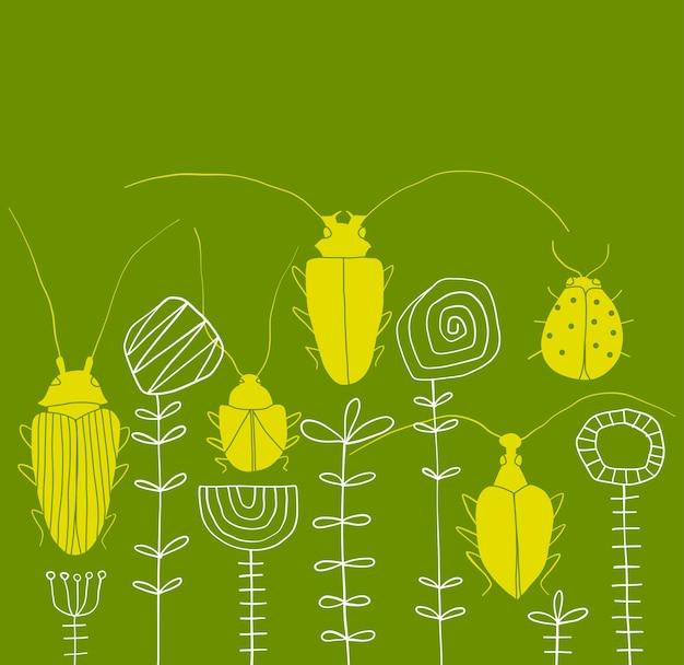 抽象的なカブトムシと花のボーダーパターン