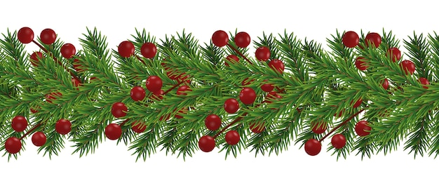 Border of realistic looking christmas tree branches decorated with berries