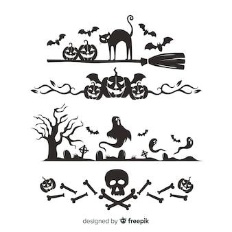 Confine impostato per halloween Vettore gratuito