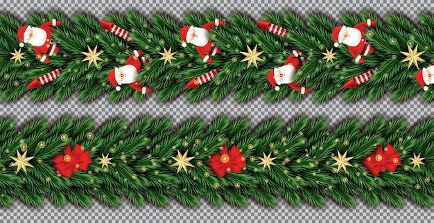 투명 한 배경에 산타 클로스, 크리스마스 나무 가지, 황금 별, 빨간 로켓 및 빨간 활과 테두리 설정. 벡터 일러스트 레이 션. 전나무 나뭇가지 테두리.