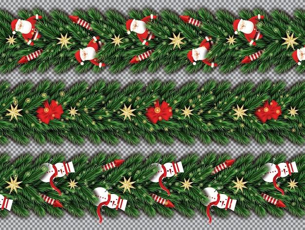 투명 한 배경에 산타 클로스, 크리스마스 나무 가지, 황금 별, 빨간 로켓, 눈사람 및 빨간 활과 테두리 설정. 벡터 일러스트 레이 션. 전나무 나뭇가지 테두리.