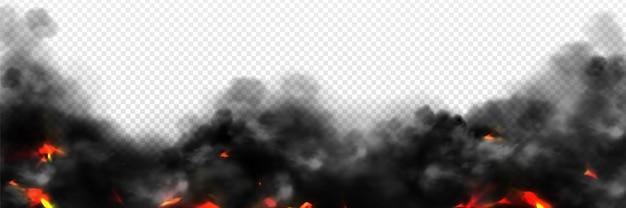 火の輝きや火花と国境の煙